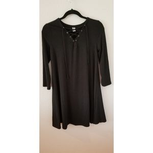 Black T-shirt Dress with Laced-up front